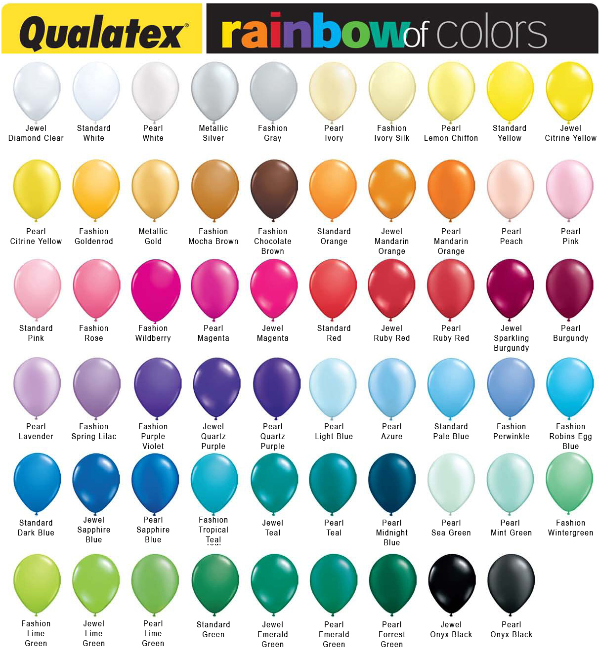 Balloon color chart nvjuhfo Image collections